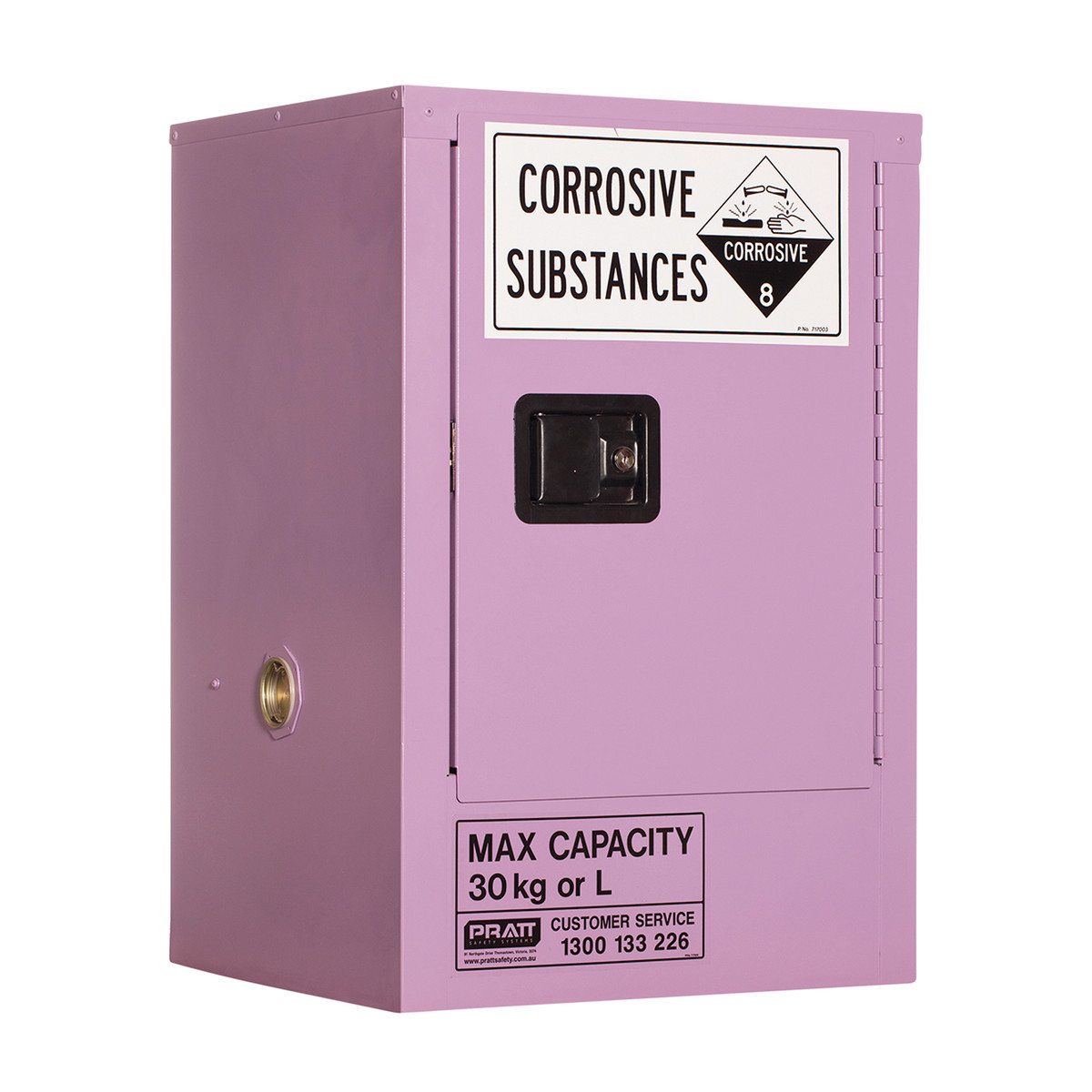 Corrosive Storage Cabinet 30 Liters - 1 Door, 1 Shelf