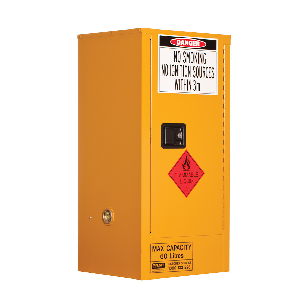 Flammable Storage Cabinet 60 Litres - 1 Door, 2 Shelf