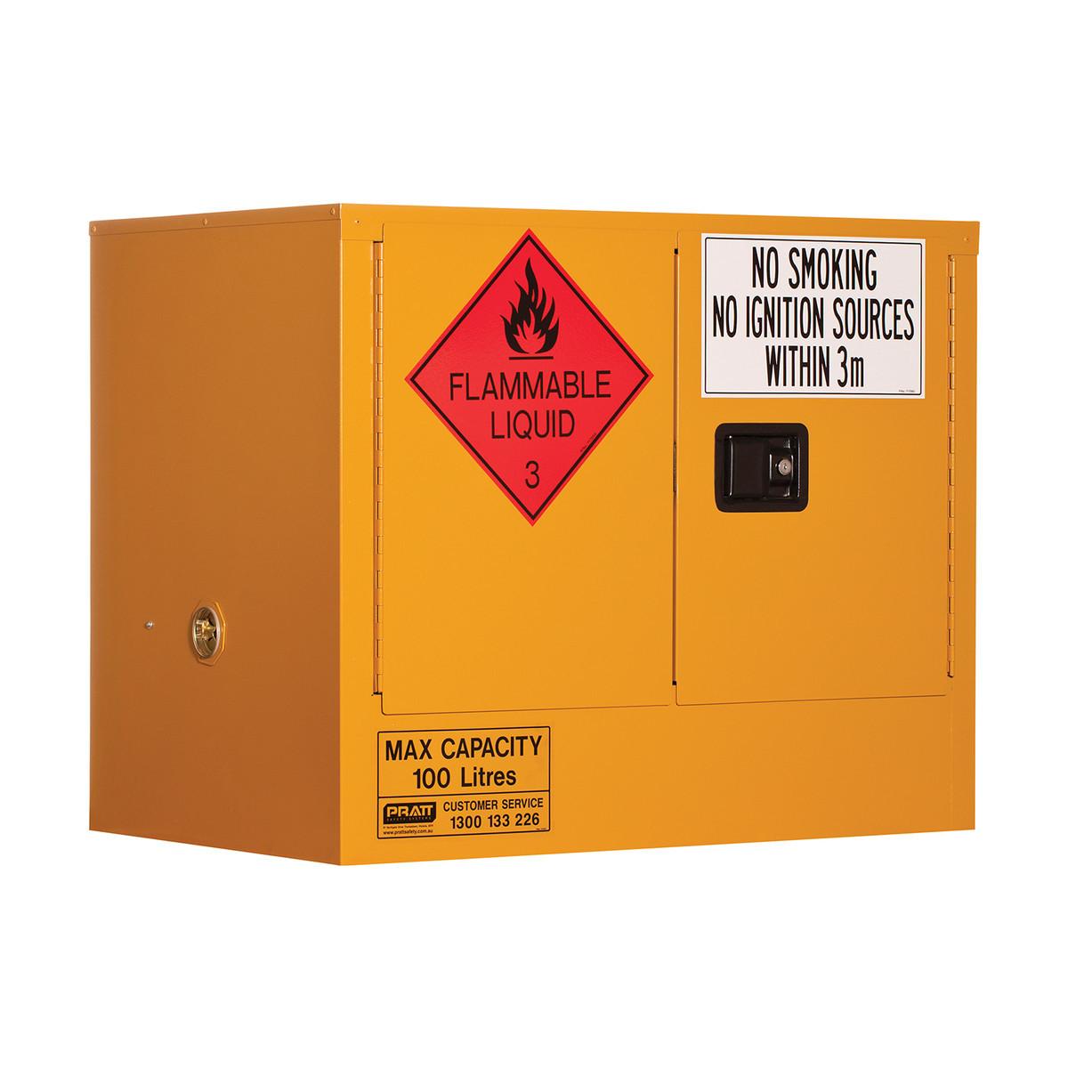 Flammable Storage Cabinet 100 Litres - 2 Door, 1 Shelf