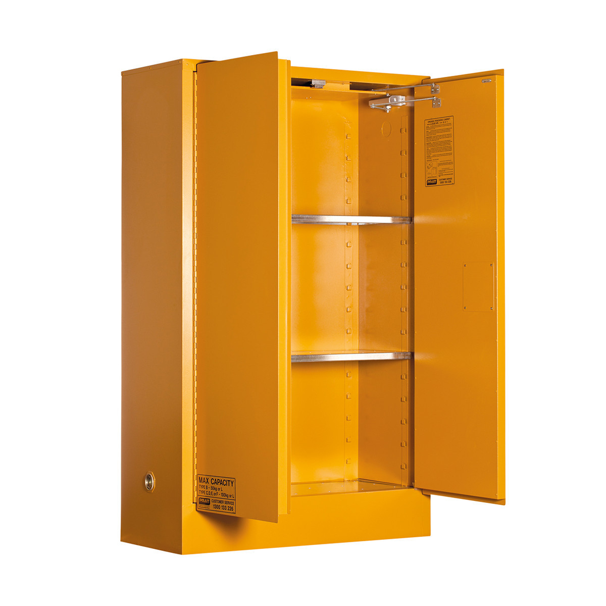 Organic Peroxide Storage Cabinet 100 Liters - 2 Door, 3 Shelf