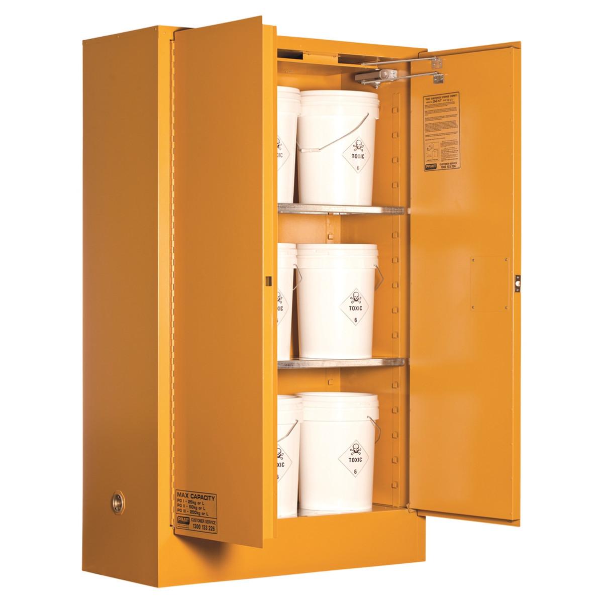 Toxic Storage Cabinet 250 Liters - 2 Door, 3 Shelf