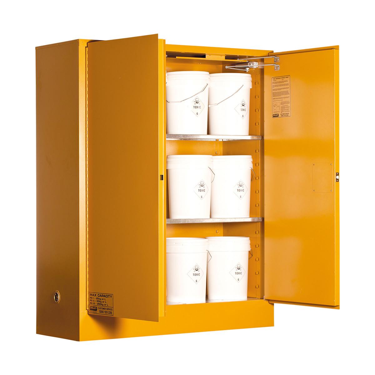 Toxic Storage Cabinet 250 Liters XL - 2 Door, 3 Shelf