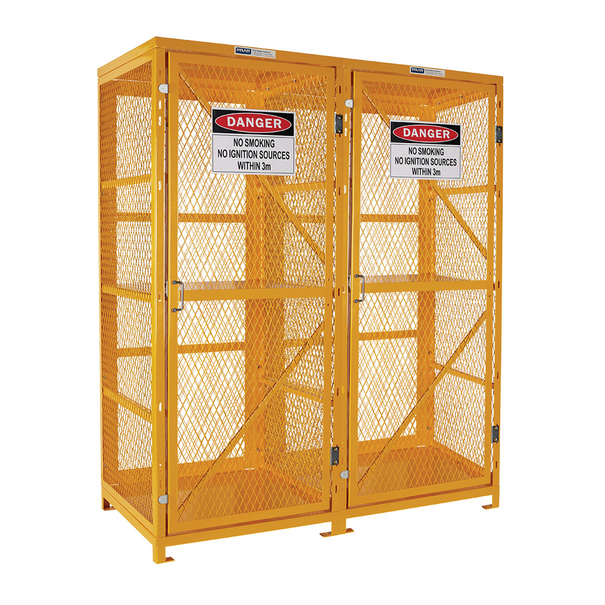 Flat Packed Forklift Storage Cage - 2 Storage Levels Up To 16 Forklift Cylinders