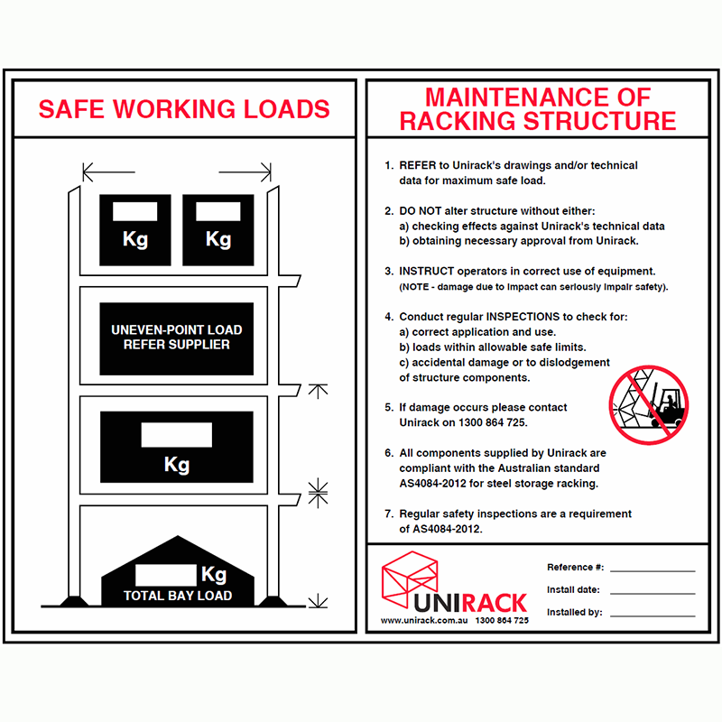Safe Work Sign for Pallet Racking